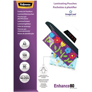 Fellowes Laminating Pouches A3 Gloss 80 Micron Pack 100