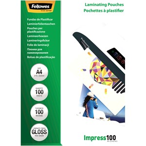 Fellowes Laminating Pouches A4 Gloss 100 Micron Pack 100