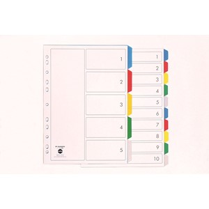 Marbig Polypropylene Dividers A4 5 Tab Multi-Coloured