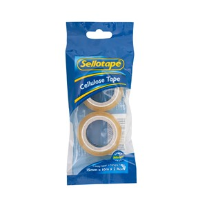 Sellotape Tape Cellulose 15mmx10m Pack 2