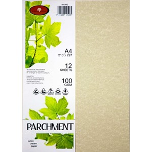 Parchment  Paper A4 100gsm Orion Cream Pack 12