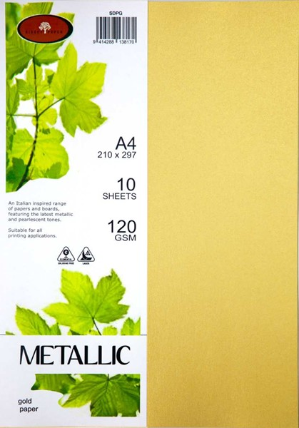 Metallic Paper A4 120gsm Gold Pack 10 - pr_400429