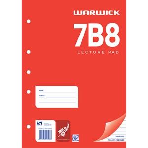 Warwick Lecture Pad 7B8 7mm Ruled A4 75lf