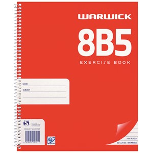 Warwick Notebook 8B5 Spiral 7mm Ruled 50lf