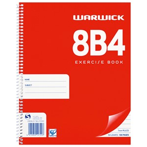 Warwick Notebook 8B4 Spiral 7mm Ruled 50lf