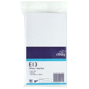 Croxley Envelopes E13 Seal Easi Non Window White Pack 100