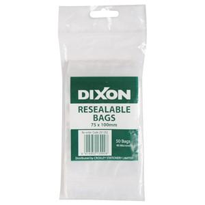 Dixon Zip Lock Bags 75x100mm Pack 50