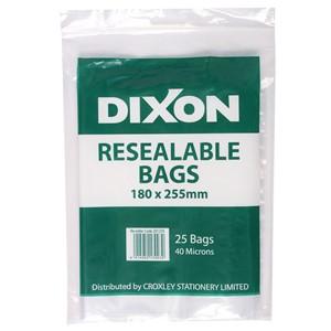 Dixon Zip Lock Bags 180x225mm Pack 25