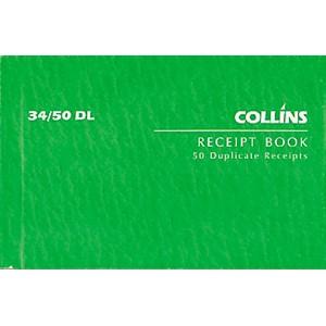 Collins Cash Receipt Book 34/50 DL Duplicate 50 Pages
