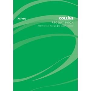 Collins Cash Receipt Book A5/4 DL Duplicate 100 Pages