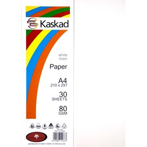 Kaskad Paper A4 80gsm White Linen Pack 30