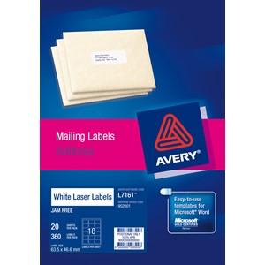 Avery Laser Label Address L7161-20 63.5x46.6mm 20 Sheets