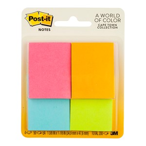 3M Post-It Notes Mini Page Markers 36x48mm Neon Pack 4