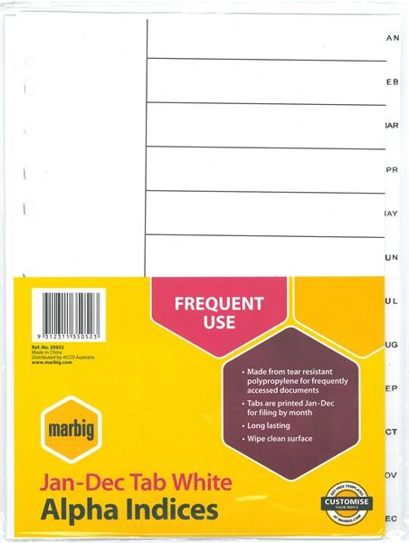 Marbig Polypropylene Indices A4 Jan-Dec White - pr_1702791