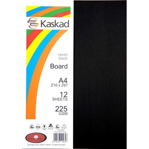 Kaskad Board A4 225gsm Raven Black Pack 12
