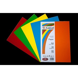 Kaskad Paper A4 80gsm Assorted Brights Pack 30