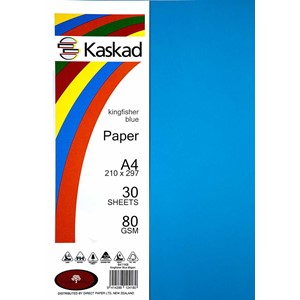 Kaskad Paper A4 80gsm Kingfisher Blue Pack 30