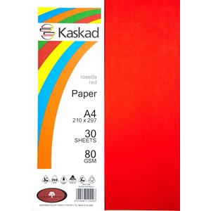Kaskad Paper A4 80gsm Rosella Red Pack 30