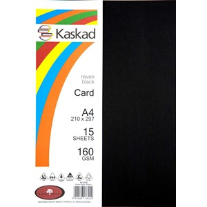 Kaskad Card A4 160gsm Raven Black Pack 15