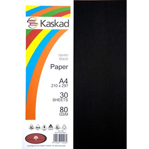 Kaskad Paper A4 80gsm Raven Black Pack 30