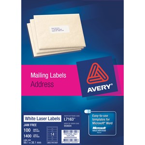 Avery Laser Label Address L7163 99.1x38.1mm 100 Sheets