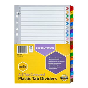 Marbig Dividers Reinforced A4 A-Z Tab Multi-Coloured