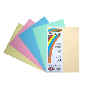 Kaskad Paper A4 80gsm Assorted Pastels Pack 30