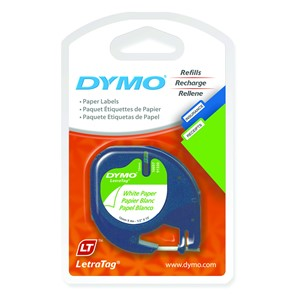 Dymo Letratag Paper Label Cassette 12mmx4m Pearl White Pack 2