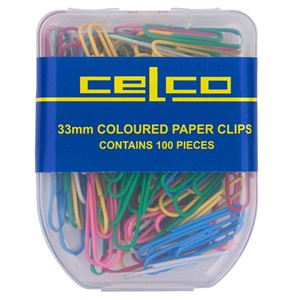 Celco Paper Clips 33mm Assorted Colours Pack 100