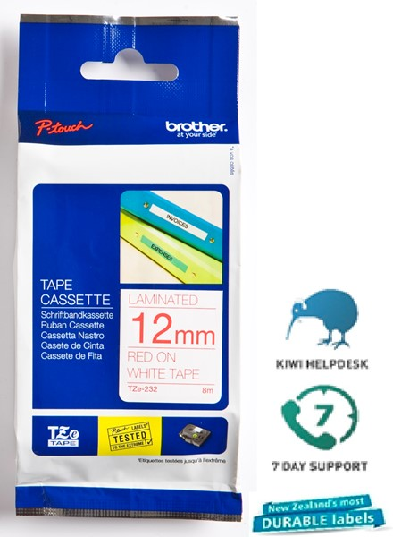 Brother P-Touch Tape TZE232 12mm Red on White - pr_1699272