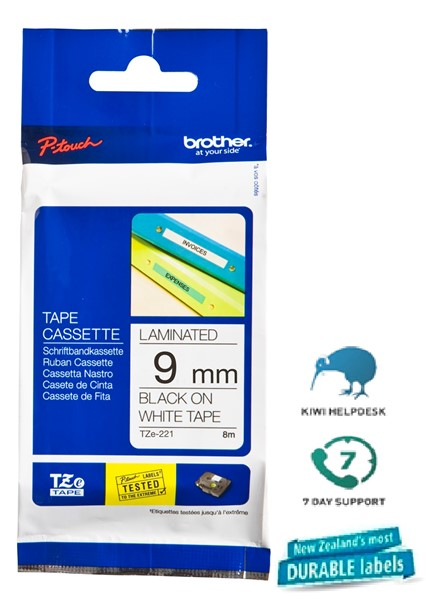 Brother P-Touch Tape TZE221 9mm Black On White 8m - pr_1702488