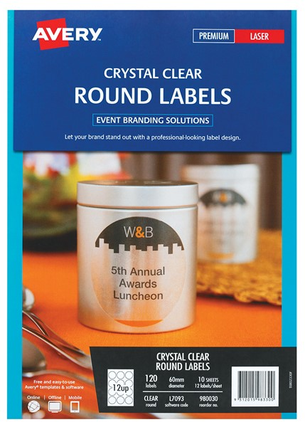 Avery Crystal Clear Round Laser Labels L7093 10 Sheets - pr_403835