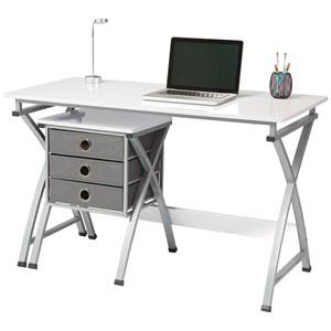 Brenton Desk X-Cross White With Filing Unit
