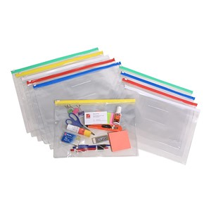 Marbig PVC Transparent Data Wallet With Zip Lock A4 Assorted