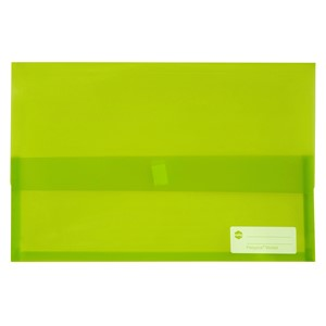 Marbig Polypick Foolscap Document Wallet Transparent Lime