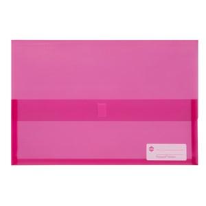 Marbig Polypick Foolscap Document Wallet Transparent Pink