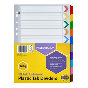Marbig Dividers Reinforced A4 10 Tab Multi-Coloured