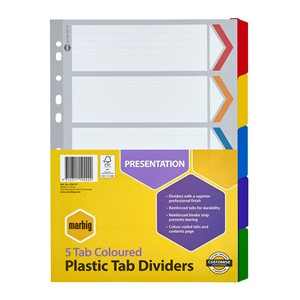 Marbig Dividers Reinforced A4 5 Tab Multi-Coloured