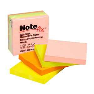 Notefix Self-Stick Notes 76mm x 76mm 4 Pads Neon
