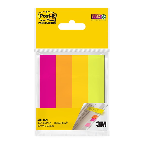 3M Post-It Super Sticky Page Markers Assorted Neon - pr_1702728