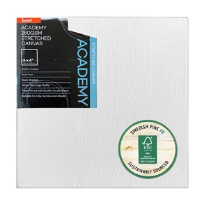 """Jasart Academy Stretched Canvas 3/4"""" Thin Edge 6x6"""""""