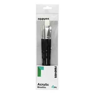 Reeves Acrylic Brush White Synthetic 4 Pack