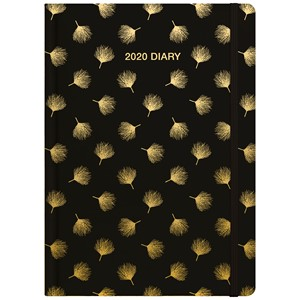 Collins 2020 Diary A53 Black And Gold Dandelion