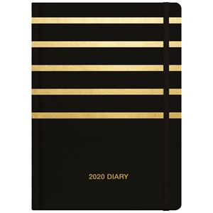 Collins 2020 Diary A53 Black And Gold Stripes