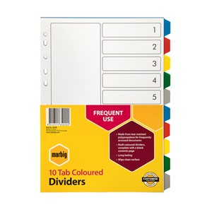 Marbig Polypropylene Dividers A4 10 Tab Multi-Coloured