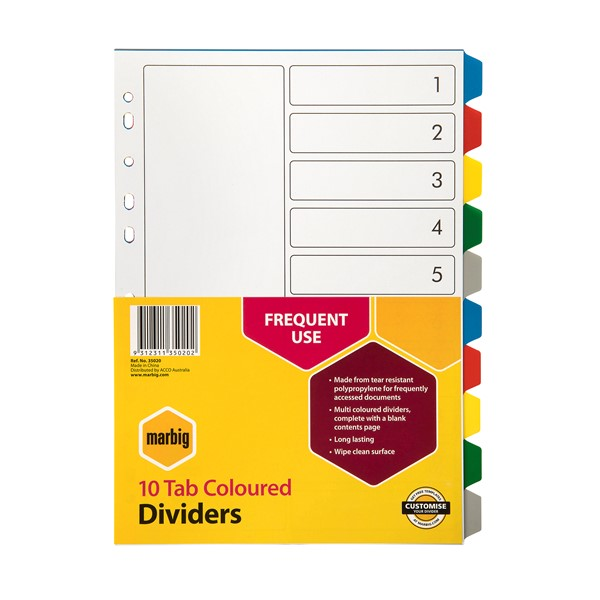 Marbig Polypropylene Dividers A4 10 Tab Multi-Coloured - pr_1702689